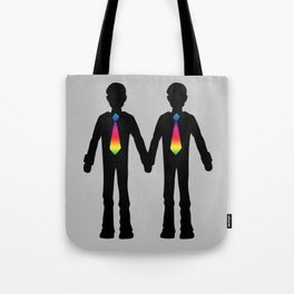 Gay Couple Holding Hands Tote Bag