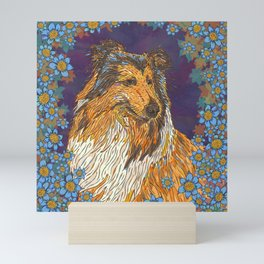 Rough Collie and Blue Flowers Mini Art Print