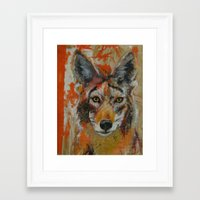 coyote Framed Art Prints featuring Coyote by Ali Kirby