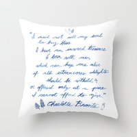 jane eyre Throw Pillows featuring Jane Eyre Quote by Eden Cooke