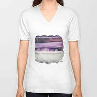 northern lights V-neck T-shirts featuring Northern Lights by SpaceFrogDesigns
