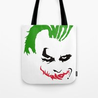 the joker Tote Bags featuring Joker by The Artist