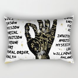 Palmistry, chiromancy. Black hand on a white textured background. Rectangular Pillow
