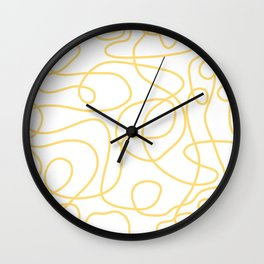 Doodle Line Art | Yellow Lines on White Background Wall Clock