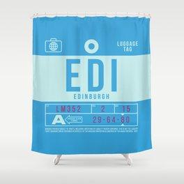 Retro Airline Luggage Tag 2.0 - EDI Edinburgh Airport Scotland Shower Curtain