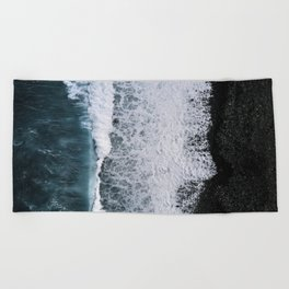 Aerial of a Black Sand Beach with Waves - Oceanscape Beach Towel