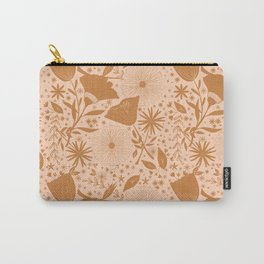 Wildflowers Repeat Pattern Ocher Blush Pink Cottagecore Simple Life Carry-All Pouch