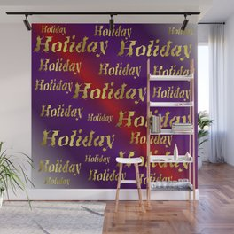 golden holiday text in red and purple metal Wall Mural
