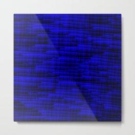 Square cross blue lines on a dark tree. Metal Print