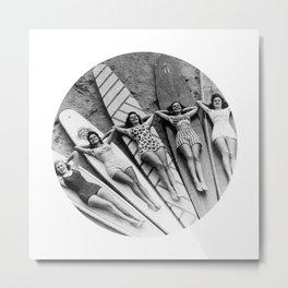 Vintage Girls on Surfboards Metal Print