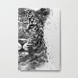 Black And White Half Faced Leopard Metal Print