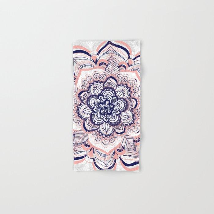 Woven Dream - Pink, Navy & White Mandala Hand & Bath Towel