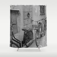 bicycles Shower Curtains featuring Bicycles in Lucca by Ellie Mallen