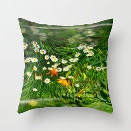 Upside Down Daisies Throw Pillow