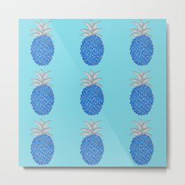 Blue Party Pineapple Pattern Metal Print