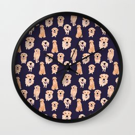 Golden Retrievers on Navy Wall Clock