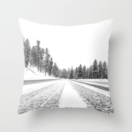 Snow Road // Snowy Winter Wonderland Black and White Landscape Photography Ski Poster Throw Pillow
