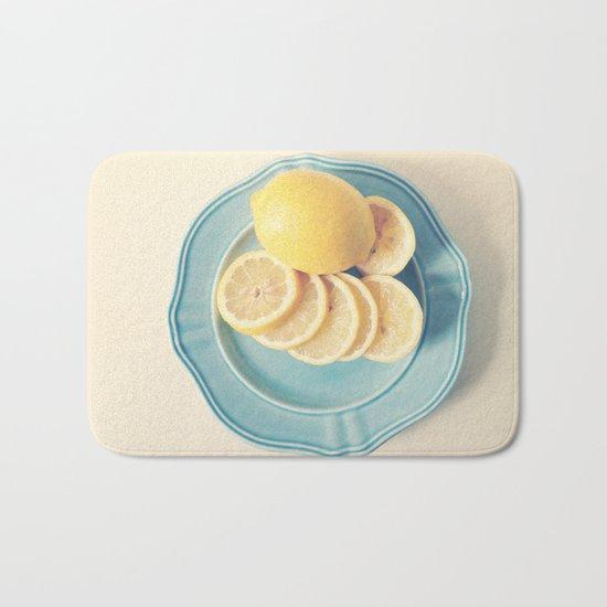 Lemons on Blue Bath Mat