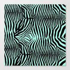 Blue & Black Glitter Zebra Print Canvas Print