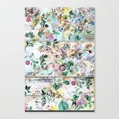 Pretty flowers on wood Canvas Print