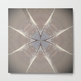 Web of Life - feather mandala art, symmetrical spiritual yoga, high vibe energy, air element Metal Print