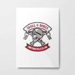 Skull Bones Bike Helmet Ribbon Retro Metal Print