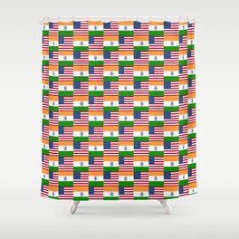 Mix of flag : usa and India Shower Curtain