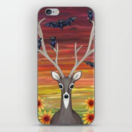 white tailed deer, bats, black eyed susans iPhone Skin