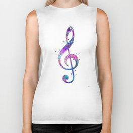 Treble Clef Sign Watercolor Print Blue Purple Wall Art Poster Music Poster Biker Tank
