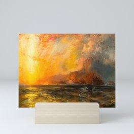 Majestic Golden-Orange Sunset Over the Troubled Atlantic Ocean landscape by Thomas Moran Mini Art Print