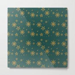 Gold Snowflakes 2 Metal Print