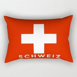 Switzerland Swiss country flag Schweiz german name text Rectangular Pillow