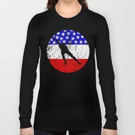American Flag Speed Skating Long Sleeve T-shirt