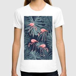 Summer Flamingo Jungle Night Vibes #1 #tropical #decor #art #society6 T-shirt