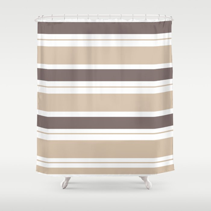 Caffeinated Tones Horizontal Striped Shower Curtain By Seafoam12