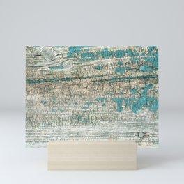 Rustic Wood Turquoise Weathered Paint Wood Grain Mini Art Print