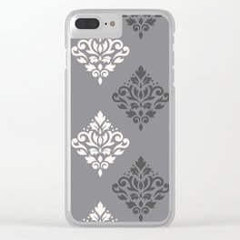 Scroll Damask Art I Cream & Grays Clear iPhone Case