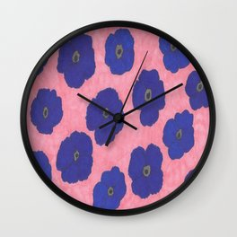 Blooms in Blue Wall Clock