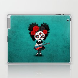 Day of the Dead Girl Playing Russian Flag Guitar Laptop & iPad Skin