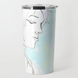 Girl in blue Travel Mug