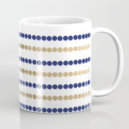 Elegant modern faux gold navy blue polka dots stripes Coffee Mug