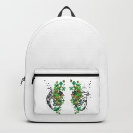 Heart with four-leaf clovers Backpack