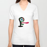 tape V-neck T-shirts featuring Screaming Tape Head by Take F1ve