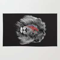 david bowie Area & Throw Rugs featuring David Bowie Lion by Urban Exclaim Co.