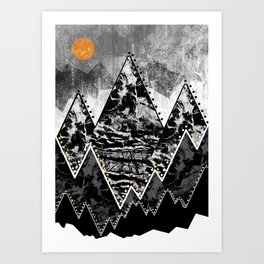 The small sun over the grey mountains Art Print