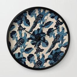 Indian Blue-Resist Pastel Wall Clock
