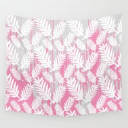 Fuchsia modern watercolor brushstrokes white floral Wall Tapestry