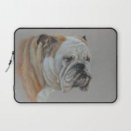 ENGLISH BULLDOG Realistic Dog portrait Pastel drawing on gray background Laptop Sleeve