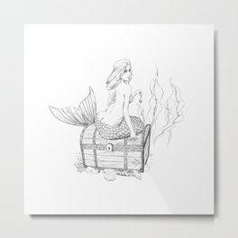 Mermaid and treasure Metal Print