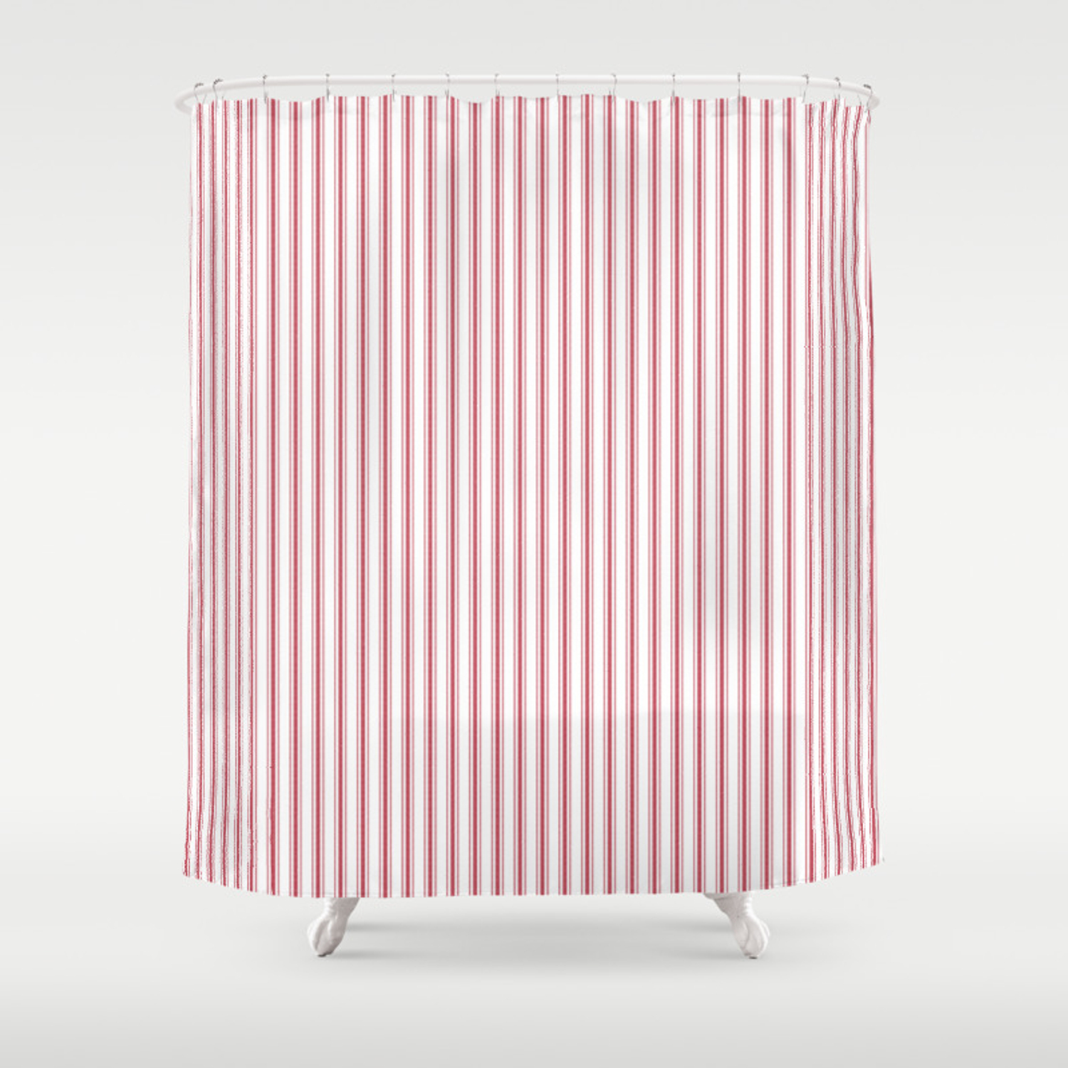 Mattress Ticking Narrow Striped Usa Flag Red And White Shower Curtain